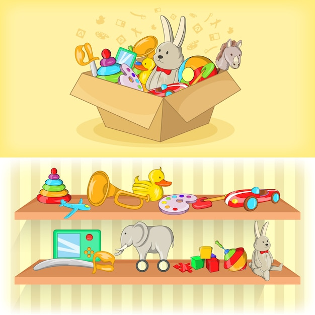 Bannière de jouets bébé horizontale dans un style bande dessinée Vecteur Premium