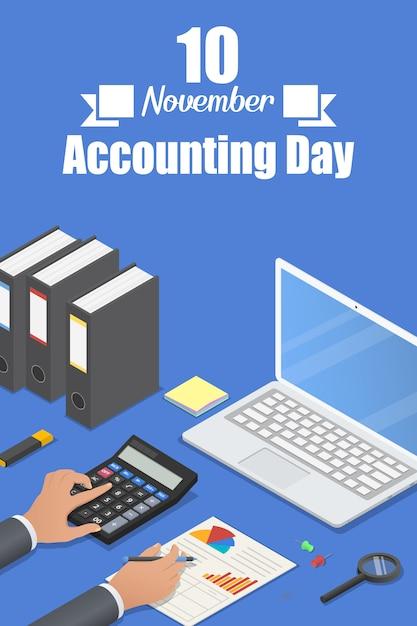 Bannière jour de la comptabilité Vecteur Premium