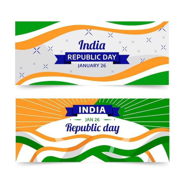 Bannière De Jour Plat République Indienne Vecteur Premium
