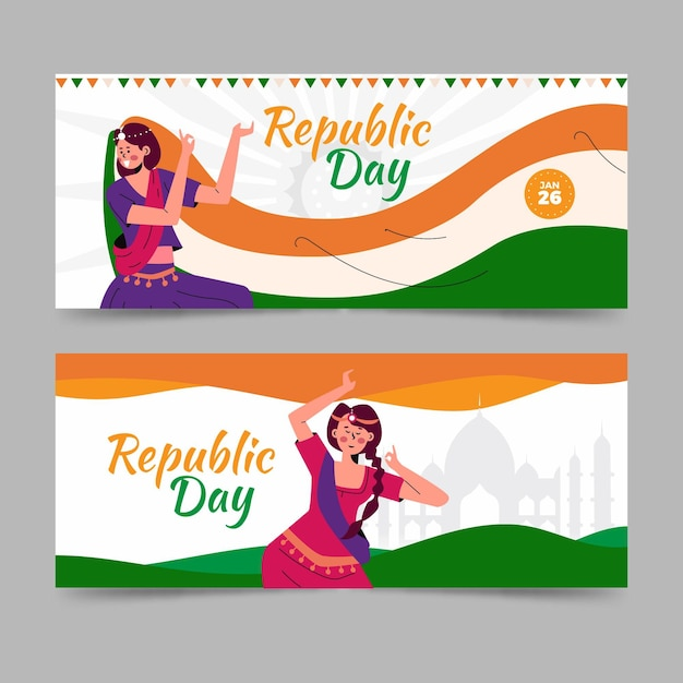 Bannière De Jour De La République Dessinée à La Main Vecteur gratuit