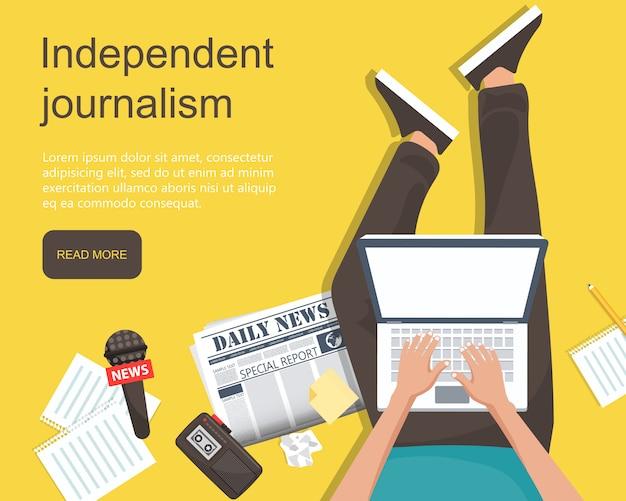 Bannière de journalisme indépendant Vecteur Premium