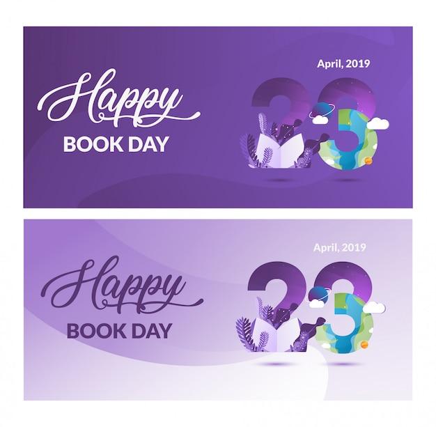 Bannière de la journée du livre mondial illustration moderne Vecteur Premium