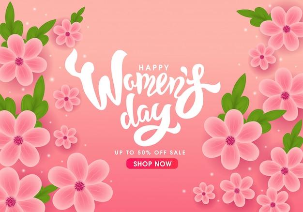 Bannière De La Journée Internationale De La Femme Heureuse Vecteur Premium