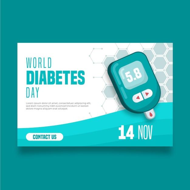 Bannière De La Journée Mondiale Du Diabète Avec Date Vecteur gratuit