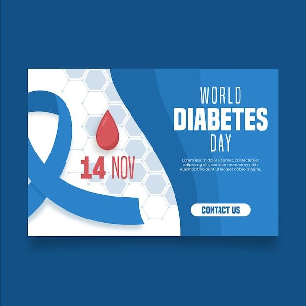 Bannière De La Journée Mondiale Du Diabète Avec Ruban Bleu Vecteur gratuit