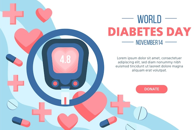 Bannière De La Journée Mondiale Du Diabète Vecteur gratuit