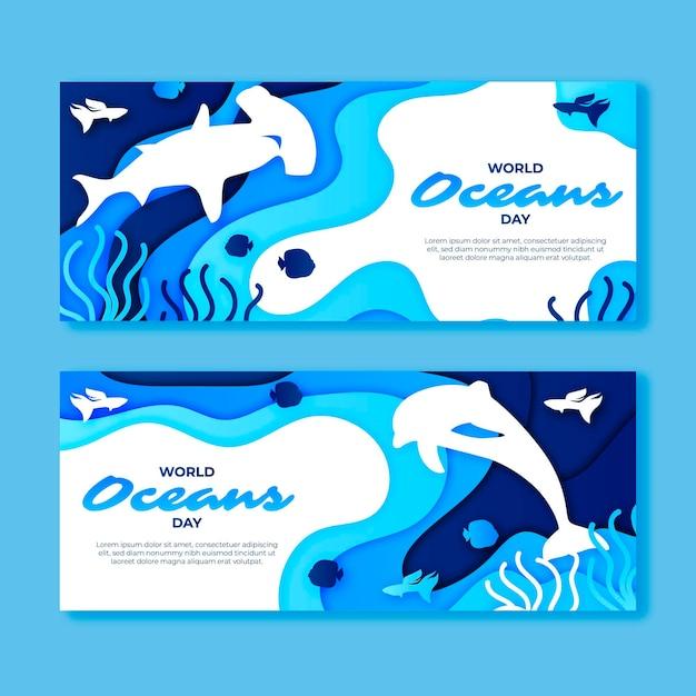 Bannière De La Journée Mondiale Des Océans Dans Un Style Papier Vecteur gratuit
