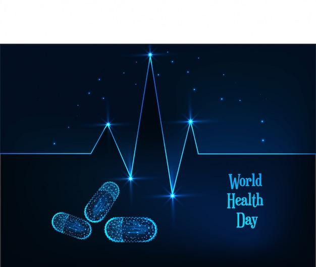 Bannière de la journée mondiale de la santé avec ligne de pulsation de coeur polygonale basse rougeoyante, des pilules et du texte sur bleu foncé. Vecteur Premium