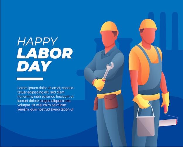 Bannière joyeuse fête du travail avec deux travailleurs Vecteur Premium