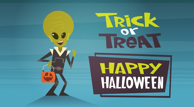 Bannière joyeuse halloween avec un dessin ou un tour étrange de dessin animé mignon Vecteur Premium