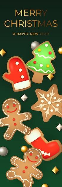 Bannière Joyeuse De Noël Avec Des Biscuits De Pain D'épice Vecteur gratuit