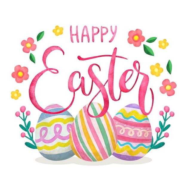 Bannière De Joyeuses Pâques à L'aquarelle Vecteur gratuit