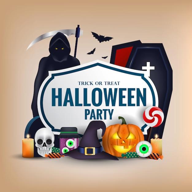 Bannière Joyeux Halloween Vecteur Premium