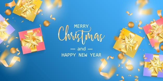 Bannière Joyeux Noël Et Bonne Année Vecteur Premium