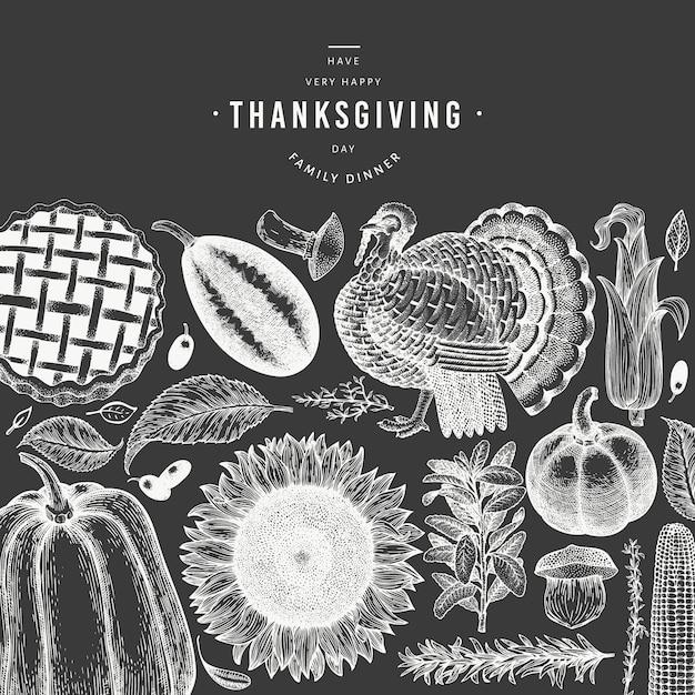 Bannière De Joyeux Thanksgiving Day. Illustrations Dessinées à La Main Au Tableau. Modèle De Voeux Thanksgiving Dans Un Style Rétro. Vecteur Premium
