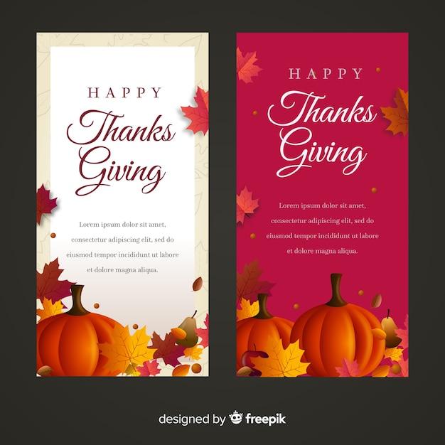 Bannière de joyeux thanksgiving day sertie de nourriture et de citrouilles Vecteur gratuit