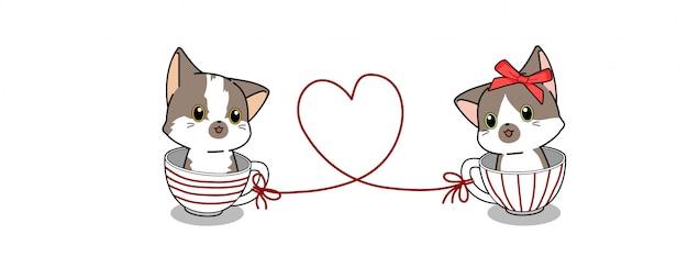 Bannière Kawaii Couple Chat à L'intérieur De La Tasse Illustration Vecteur Premium