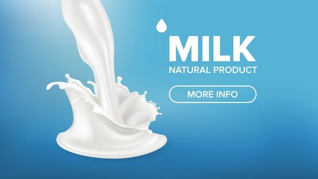 Bannière lait splash Vecteur Premium