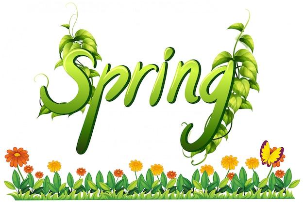 Une bannière de lettre de texte de printemps Vecteur gratuit