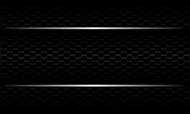 Bannière De Ligne Argent Abstraite Sur Fond De Maille Hexagonale Noire Design Métallique Fond Futuriste De Luxe Moderne. Vecteur Premium