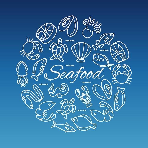 Bannière de la ligne de fruits de mer avec huître de crevettes Vecteur Premium