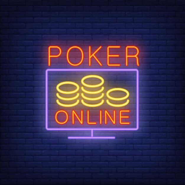 Bannière en ligne de poker dans un style néon sur fond de briques. Vecteur gratuit