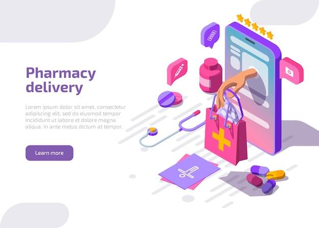 Bannière De Livraison De Pharmacie. Service De Pharmacie En Ligne. Vecteur gratuit