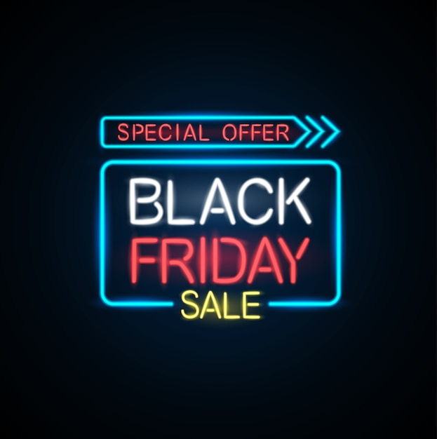 Bannière de lumière noire vendredi vendredi. Vecteur Premium