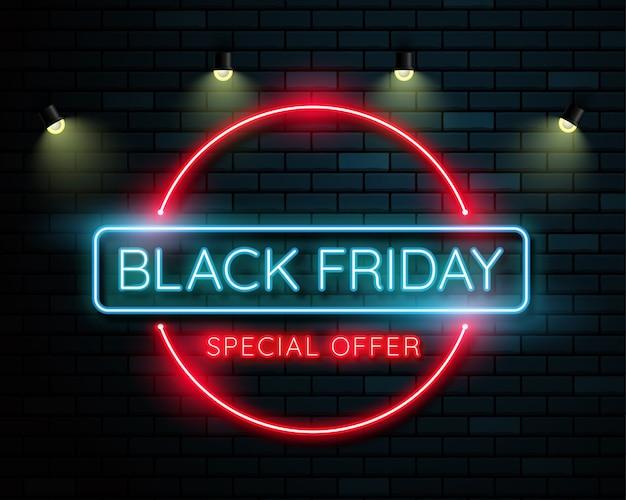 Bannière lumineuse noire au vendredi Vecteur Premium