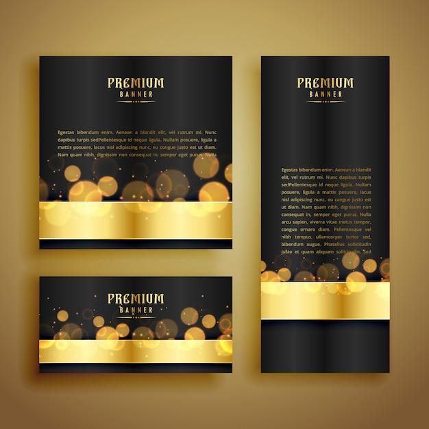Bannière de luxe brillant bokeh doré Vecteur gratuit