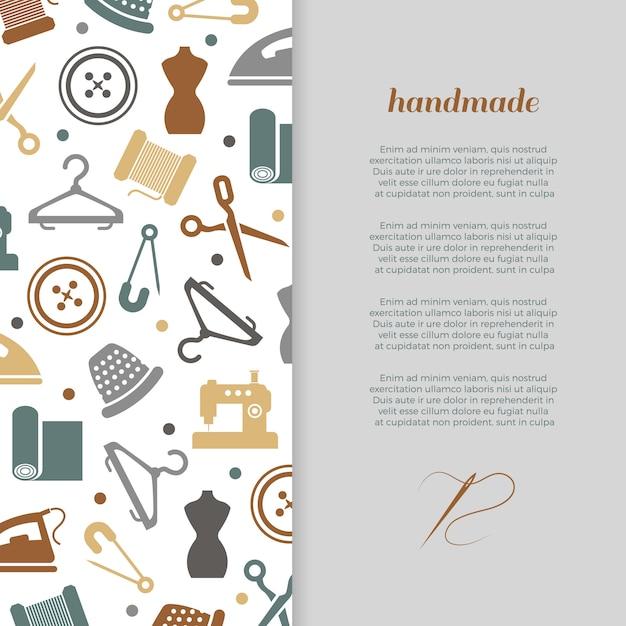 Bannière à la main, artisanat, couture Vecteur Premium