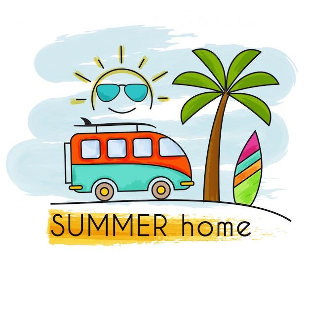 Bannière maison aquarelle vacances d'été Vecteur Premium