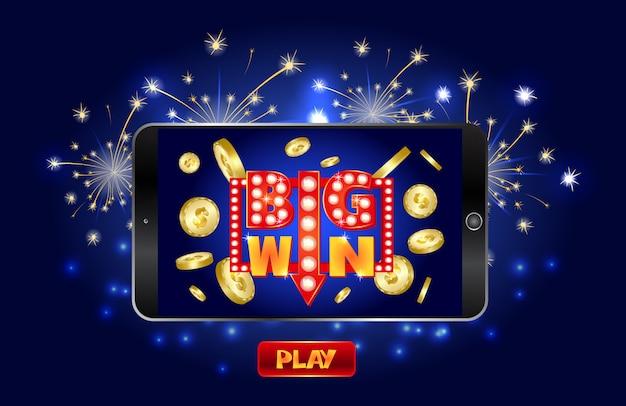 Bannière marketing de casino en ligne, appuyez sur le bouton pour jouer. Vecteur Premium