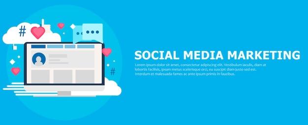 Bannière de marketing des médias sociaux. ordinateur avec goûts, nuage, commentaire, hashtags. Vecteur gratuit