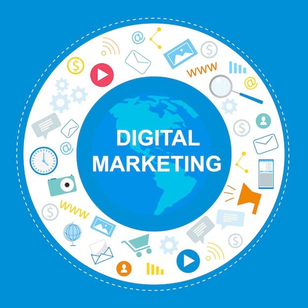 Bannière de marketing numérique. symbole internet, médias sociaux Vecteur Premium