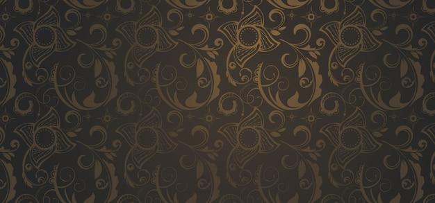 Bannière marron dans un style gothique Vecteur Premium