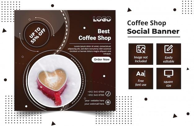 Bannière De Médias Sociaux De Café Vecteur Premium