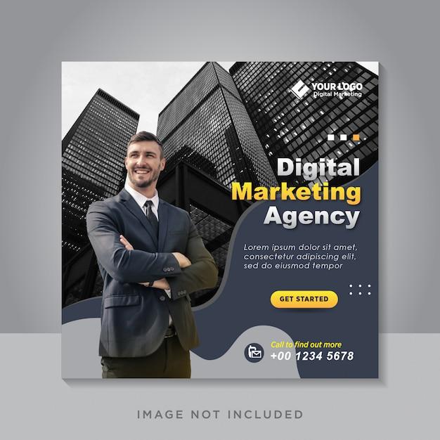 Bannière De Médias Sociaux De Marketing D'entreprise Numérique Ou Flyer Carré Vecteur Premium