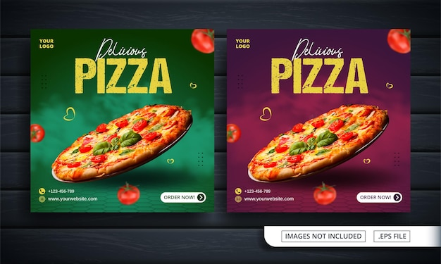 Bannière De Médias Sociaux Verte Et Rouge Pour La Vente De Pizza Vecteur Premium