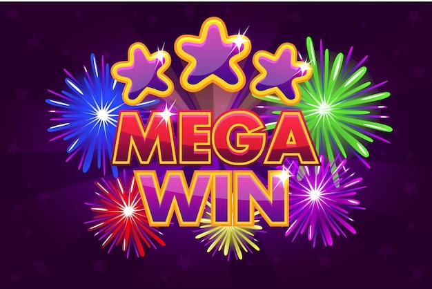 Bannière Mega Big Win Pour Les Jeux De Loterie Ou De Casino. Tirer Des étoiles Colorées Vecteur Premium