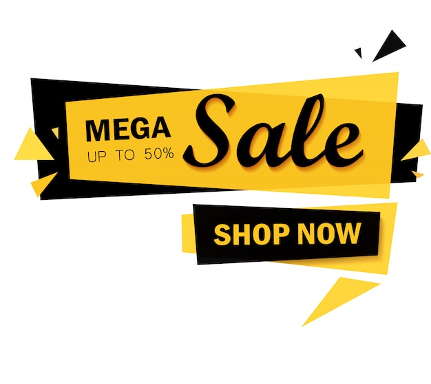 Bannière mega sale à offre limitée. grande vente, offre spéciale, réductions Vecteur Premium
