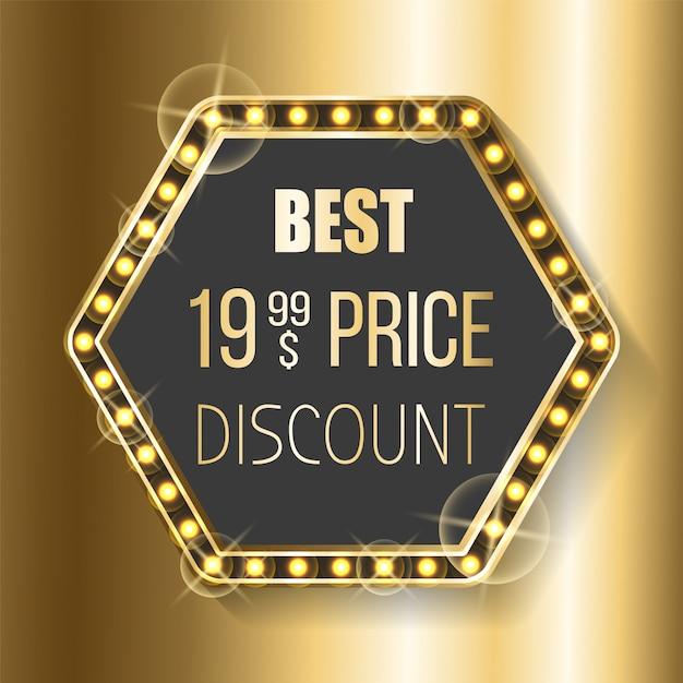 Bannière meilleur prix discount hexagon glittering frame Vecteur Premium