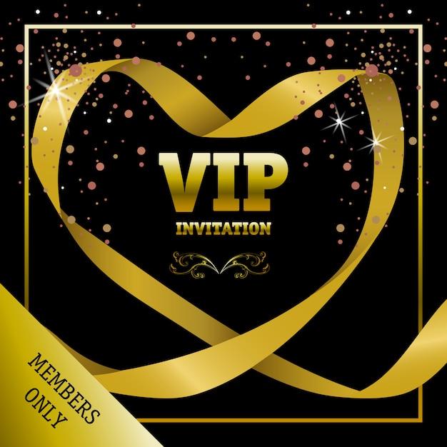 Bannière de membres d'invitation vip uniquement en ruban en forme de coeur Vecteur gratuit