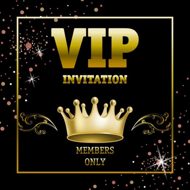Bannière membres vip invitation seulement dans un cadre doré Vecteur gratuit