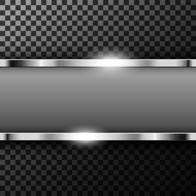 Bannière métallique chromée avec espace texte Vecteur Premium