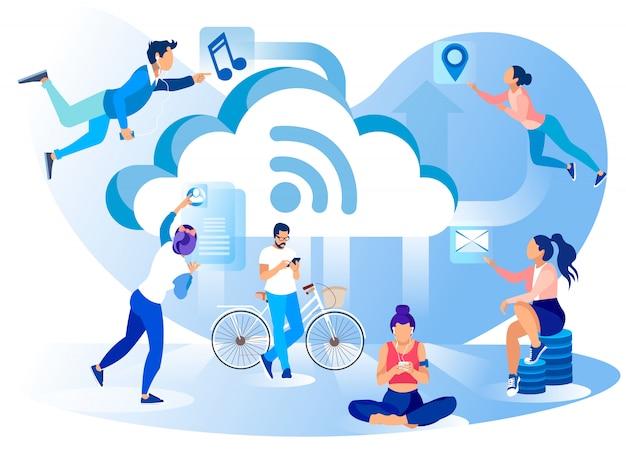 Bannière de métaphore de style de vie de réseau de médias sociaux Vecteur Premium