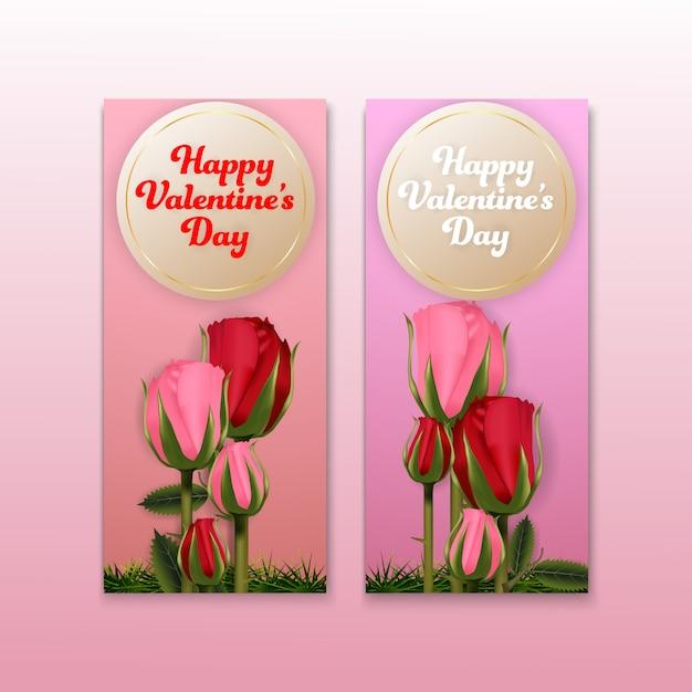 Bannière de milieux de valentines roses bannière set carte Vecteur Premium