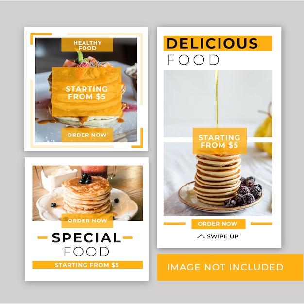 Bannière minimaliste restauration rapide instagram post template Vecteur Premium