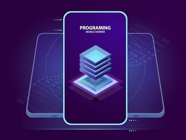 Bannière mobile de développement et de programmation d'application mobile, icône isométrique de la salle des serveurs, données Vecteur gratuit