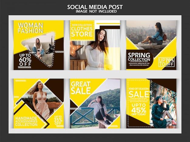 Bannière de mode pour les médias sociaux Vecteur Premium